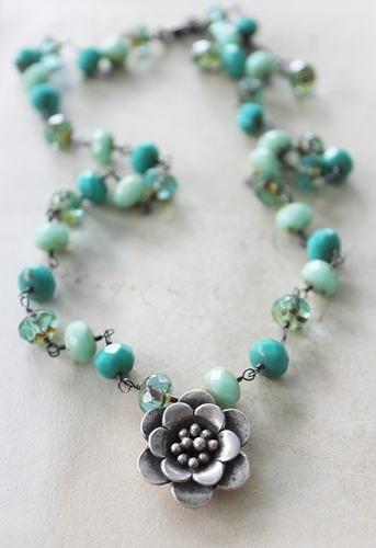 Shades of Aqua Czech Glass Necklace -  The Brielle Necklace