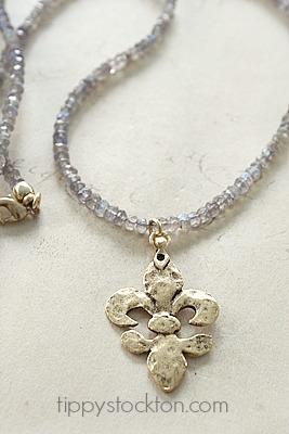 Labradorite and Gold or Sterling Silver  Hammered  Fleur de Lis Pendant - The Fleur de Lis Necklace