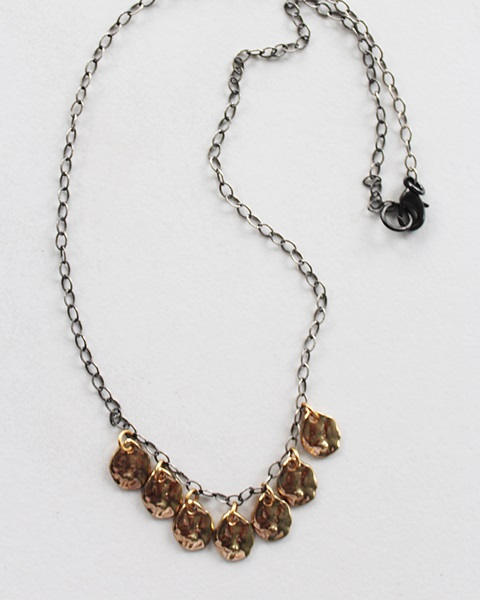 Oxidized Sterling Silver and Brass Drop Necklace - The Bailey Necklace