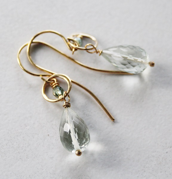 Prehnite Faceted Drops on 14kt Gold Earwires - The Blair Earrings