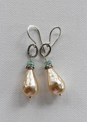 Vintage Glass Pearl Teardrop and Sterling Silver Earrings - The Eva Earrings
