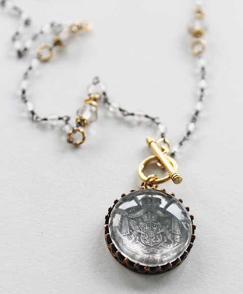 Vintage French Medal on Mixed Metal Handmade Chain -  The Julia Necklace