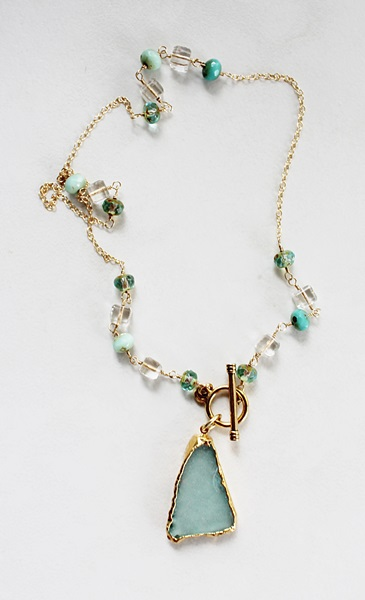 Czech Glass and Beach Glass Necklace - The Montauk Necklace
