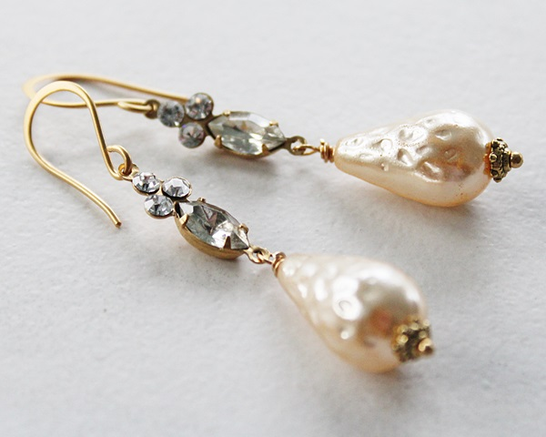 Vintage Pearls and Glass Connector Earrings - The Raye Earrings