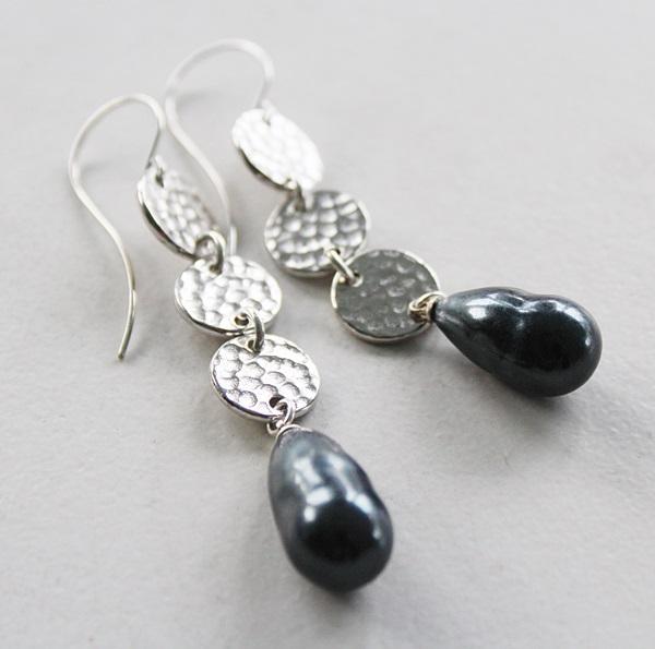 Miriam Haskell Dark Gray/Blue Drop Earrings - The Stacy Earrings