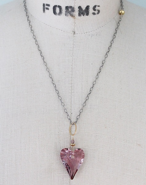 Swarovski Pink or Gray Ombre Heart on Oxidized Sterling Silver Chain - The Valentine Necklace