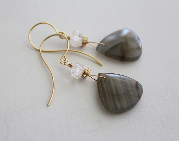 Trillion Shaped Labradorite with Clear Quartz - The Emmy Earrings