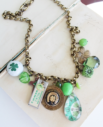Market Day Trinket Necklace - Shamrock Bottle Cap New Hampshire Vintage Tag Green