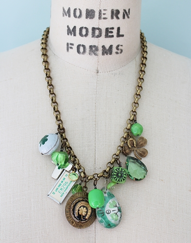 Market Day Trinket Necklace - Shamrock Bottle Cap New Hampshire Vintage Tag Green