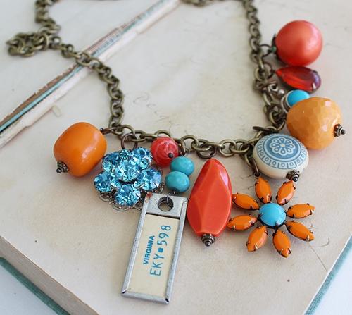 Market Day Trinket Necklace - Orange Flower Pendant, Virginia License Tag, Rhinestones