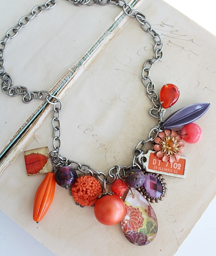 Market Day Trinket Necklace - Orange and Purple, Vintage Illinois Orange License Tag, Vintage Lucite Beads
