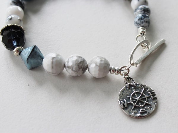 Dendritic Opal, White Turquoise, Vintage Glass and Sterling Silver Bracelet - True North Bracelet