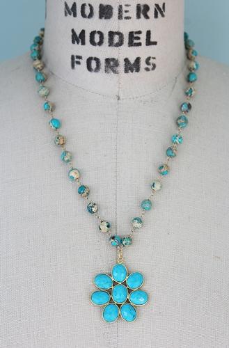 Aqua Terra Jasper and Turquoise Pendant Necklace - The Desert Daisy Necklace
