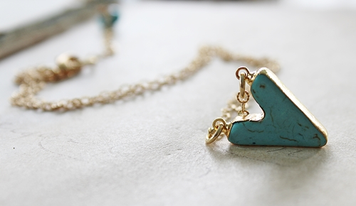 Turquoise Heart on 14kt Gold Chain - The Cassie Necklace