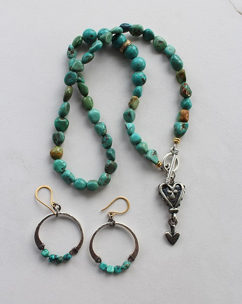 Turquoise Lariat with Heart Pendant Necklace - The Camila Necklace
