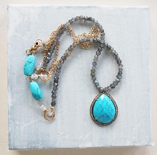 Labradorite Turquoise White Topaz Pear Shaped Pendant Necklace - The Lorenza Necklace