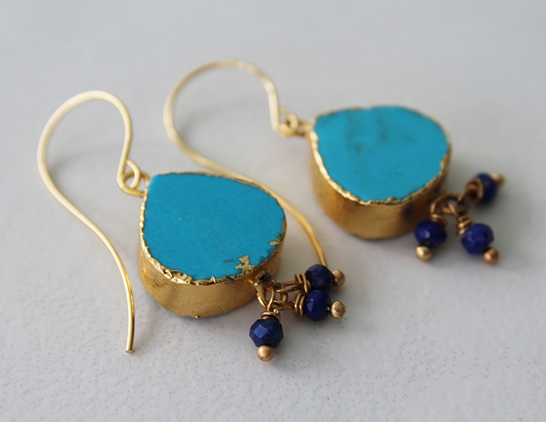 Turquoise Drop with Lapis Accent Earrings - The Courtney Earrings