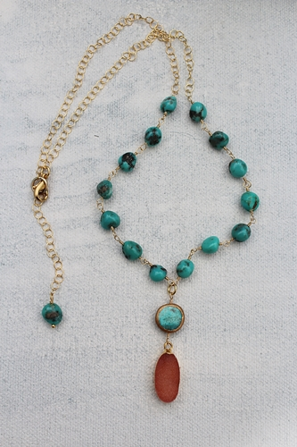 Orange Druzy and Turquoise Necklace - The Frieda Necklace