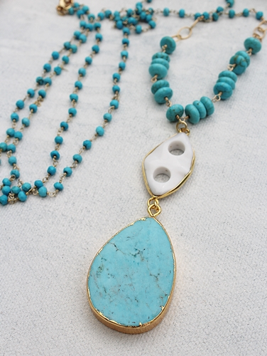 Turquoise Jasper Pendant and White Agate Necklace - The Ceara Necklace