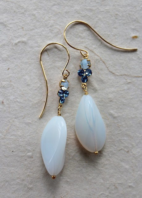 Vintage Cabachon and Glass Earrings - The Stephanie Earrings