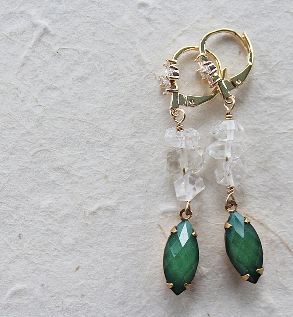 Vintage Cabachon and Clear Quartz Earrings - The Dublin Earrings