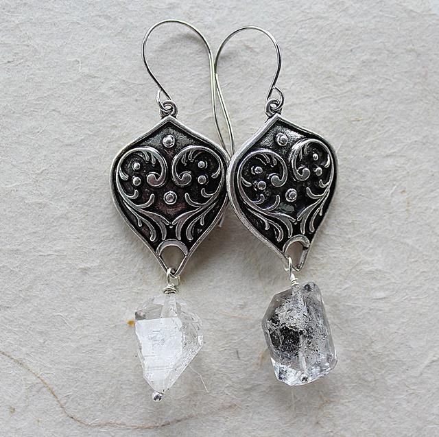 Filigree and Herkimer Diamond Earrings - The Janni Earrings