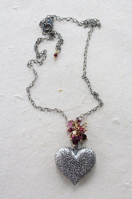Silver Etched Heart Cluster Necklace - The Valentine Necklace