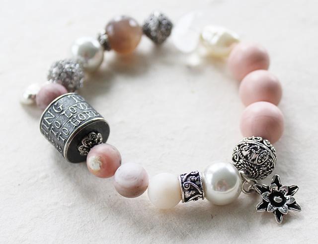 Sterling Silver Barrel Bead and Gemstone Bracelet - The Do, Love, Hope Bracelet