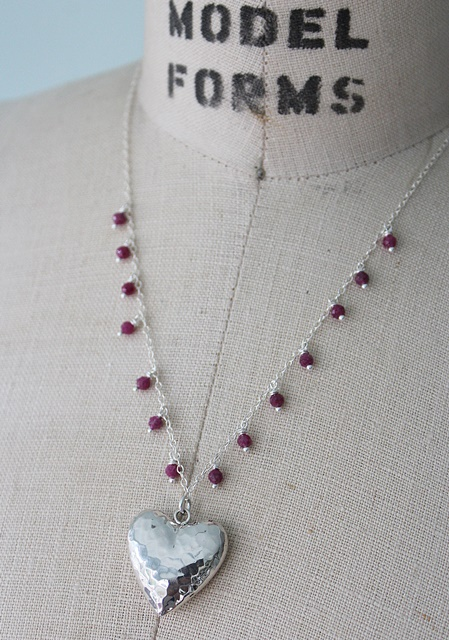 Sterling Silver Hammered Heart Pendant Necklace - The Sweetheart Necklace