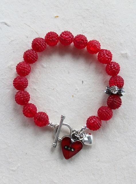 German Sugar Glass & Handmade Heart Bracelet - The Love Bracelet