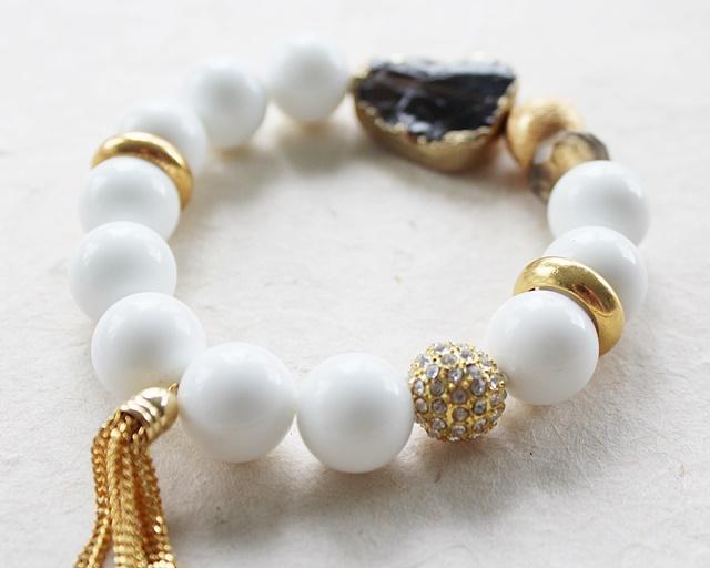 Smokey Quartz and White Magnesite Stretch Bracelet - The Mona Bracelet