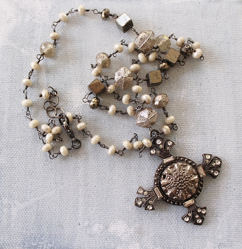 Victorian Cross with Pyrite and Czech Glass - The Eva Necklace