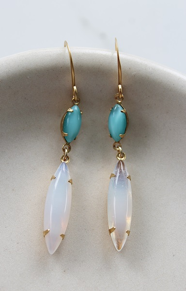 Vintage Milk Glass or Teal  and Aqua Drop Earrings - The Dina Earrings