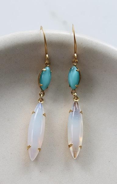 Vintage Milk Glass or Teal  and Aqua Drop Earrings - The Dina Earrings
