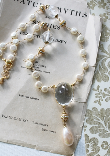 Vintage Pearl and Clear Quartz Pendant Necklace