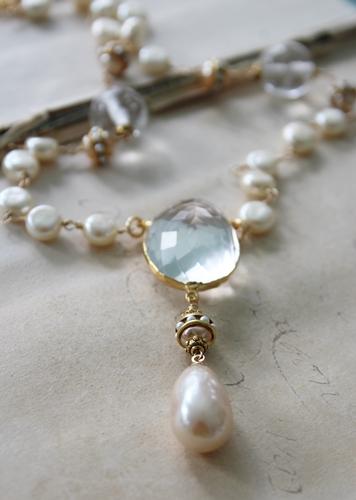Vintage Pearl and Clear Quartz Pendant Necklace