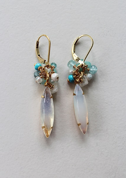 Vintage Milk Glass Drop with Semi-precious Clusters - The Adelaide Earrings
