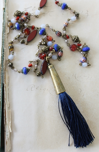 Rustic Czech Glass and Navy Blue Tassel Necklace - The Mila Necklace