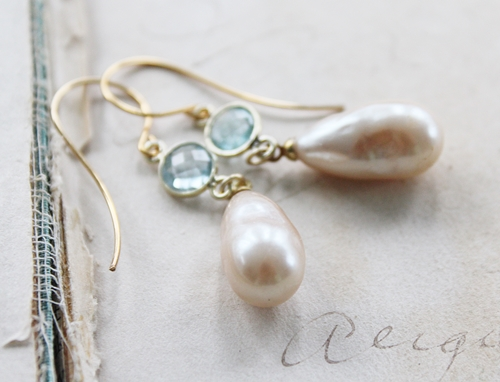 Vintage Glass Pearl Drops and Blue Topaz Earrings - The Alayna Earrings