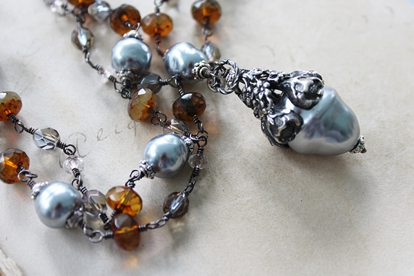 Vintage Pearl Floral Cap and Czech Glass Necklace - The Ryleigh Necklace