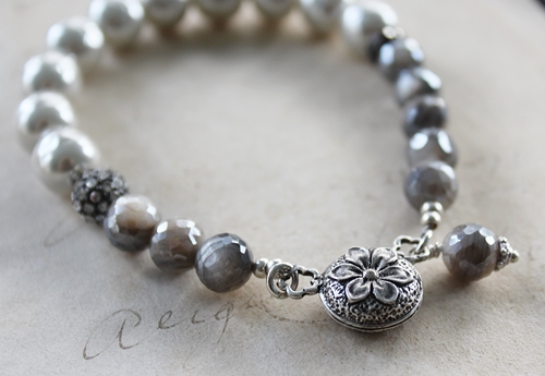 Australian Moonstone and Vintage Gray Glass Pearls - The Addie Bracelet