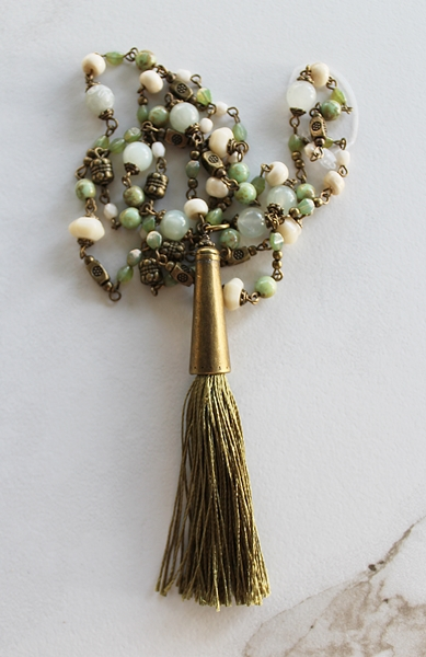 Vintage Shades of Green Glass and Silk Tassel Necklace - The Myra Necklace