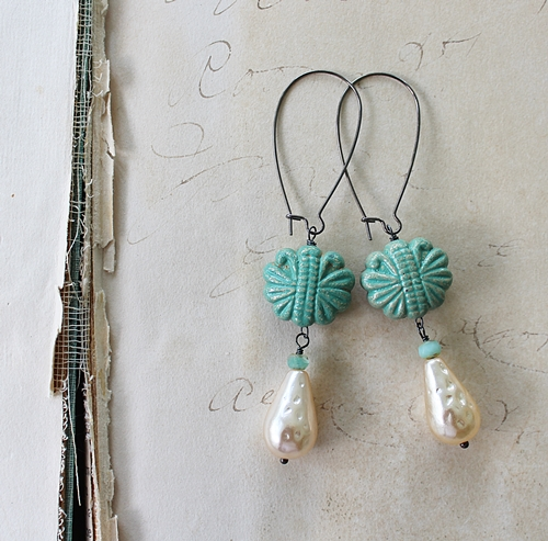 Vintage Glass Pearls and Lucite Earrings - The Maggie Earrings