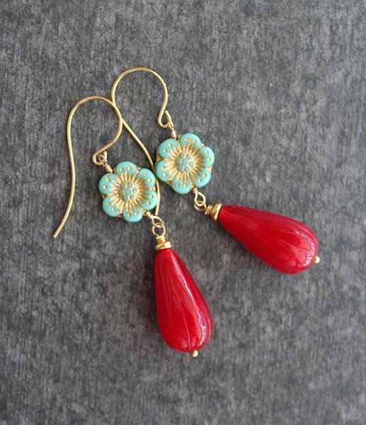Czech Glass Earrings -  The Bloom Earrings