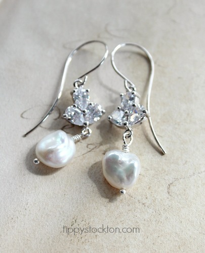 Fresh Water Pearl and CZ Earrings - The Vivienne Earrings