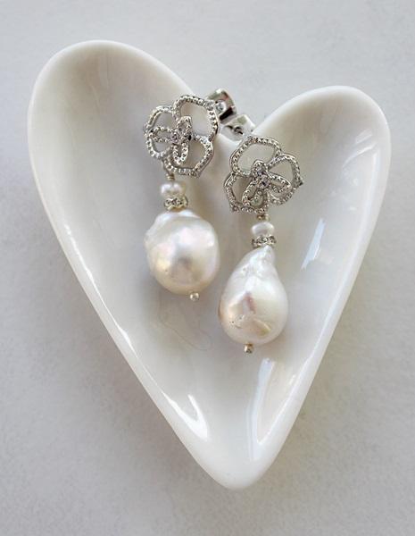 Fancy CZ Post & Baroque Pearl Earrings - The Helene Earrings