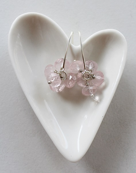 Rose Quartz and Sterling Silver Earrings - The Paulina Earrings