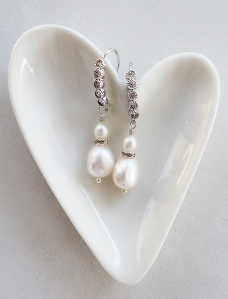 Fresh Water Pearl and CZ Earrings - The Keira Earrings
