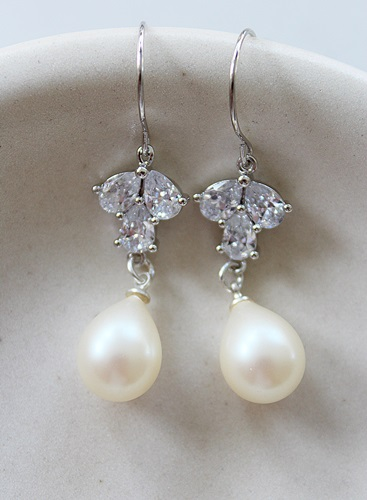 Vintage Glass Pearls and CZ Leaf Earrings - The Emily Earrings