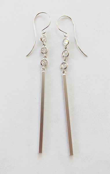 Sterling Silver and CZ Bar Earrings - The Cici Earrings